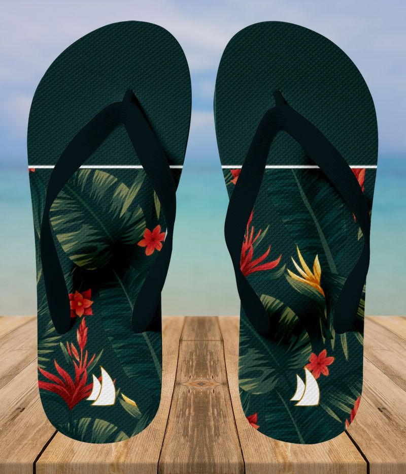 Tropical  green flip flops