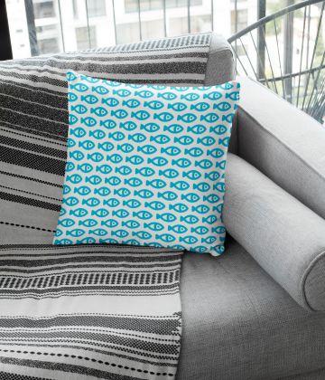 "Large cushion little fishes pattern ""Psarakia"""